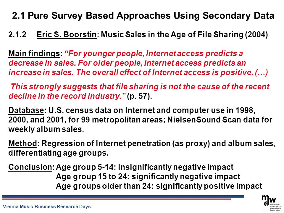 Vienna Music Business Research Days 2.1 Pure Survey Based Approaches Using Secondary Data Eric S.