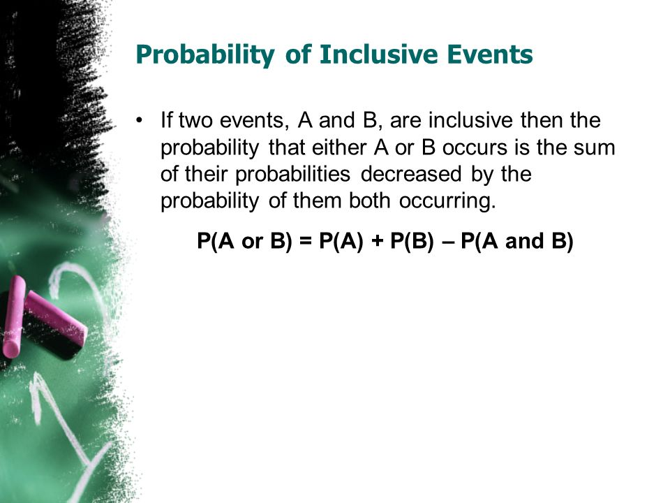 Probability of Inclusive Events If two events, A and B, are inclusive then the probability that either A or B occurs is the sum of their probabilities decreased by the probability of them both occurring.