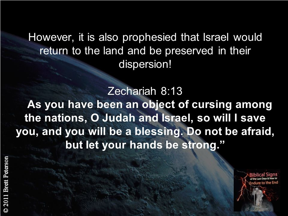 © 2011 Brett Peterson However, it is also prophesied that Israel would return to the land and be preserved in their dispersion.