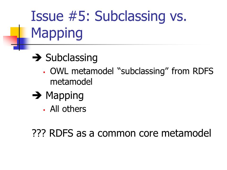 Issue #5: Subclassing vs.