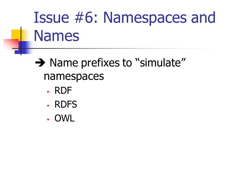 Issue #6: Namespaces and Names Name prefixes to simulate namespaces RDF RDFS OWL