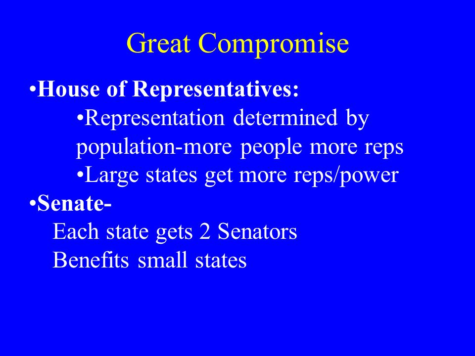 Great Compromise House of Representatives: Representation determined by population-more people more reps Large states get more reps/power Senate- Each state gets 2 Senators Benefits small states