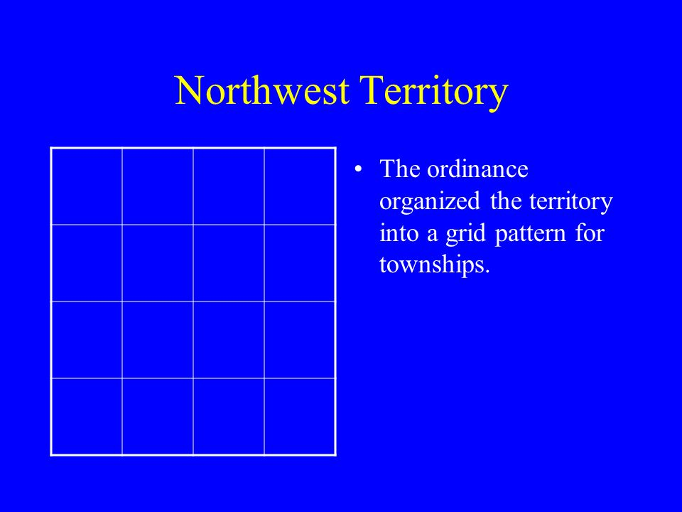 Northwest Territory The ordinance organized the territory into a grid pattern for townships.