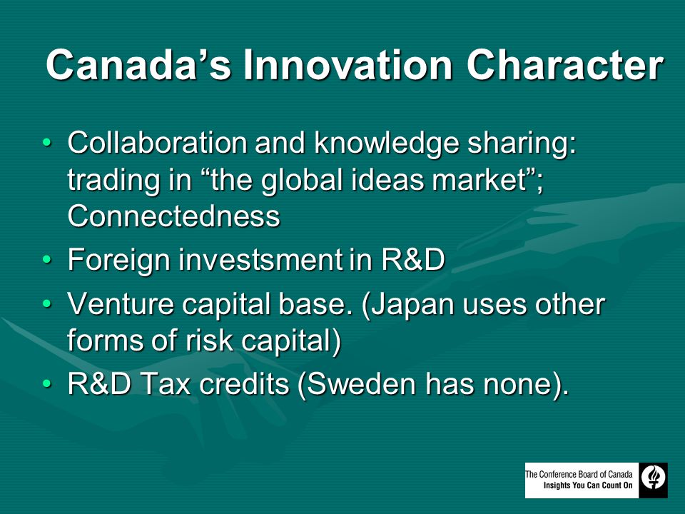 Canadas Innovation Character Collaboration and knowledge sharing: trading in the global ideas market; ConnectednessCollaboration and knowledge sharing: trading in the global ideas market; Connectedness Foreign investsment in R&DForeign investsment in R&D Venture capital base.