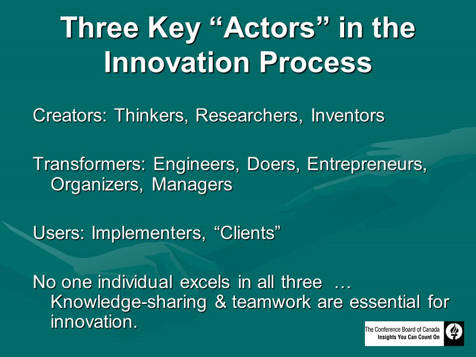Three Key Actors in the Innovation Process Creators: Thinkers, Researchers, Inventors Transformers: Engineers, Doers, Entrepreneurs, Organizers, Managers Users: Implementers, Clients No one individual excels in all three … Knowledge-sharing & teamwork are essential for innovation.