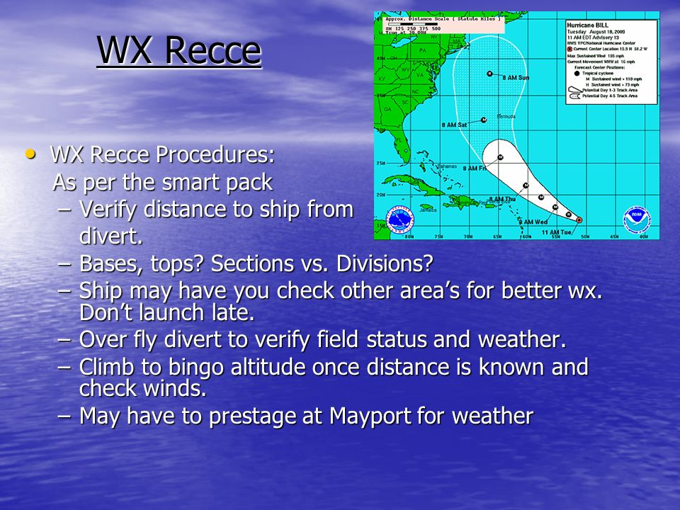WX Recce Procedures: WX Recce Procedures: As per the smart pack As per the smart pack –Verify distance to ship from divert.