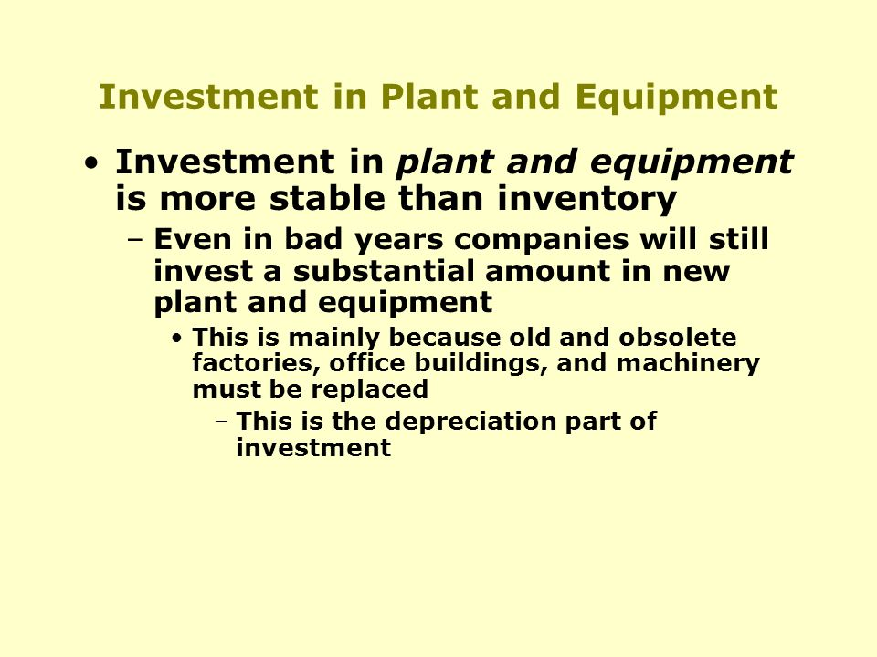 Investment in Plant and Equipment Investment in plant and equipment is more stable than inventory –Even in bad years companies will still invest a substantial amount in new plant and equipment This is mainly because old and obsolete factories, office buildings, and machinery must be replaced –This is the depreciation part of investment
