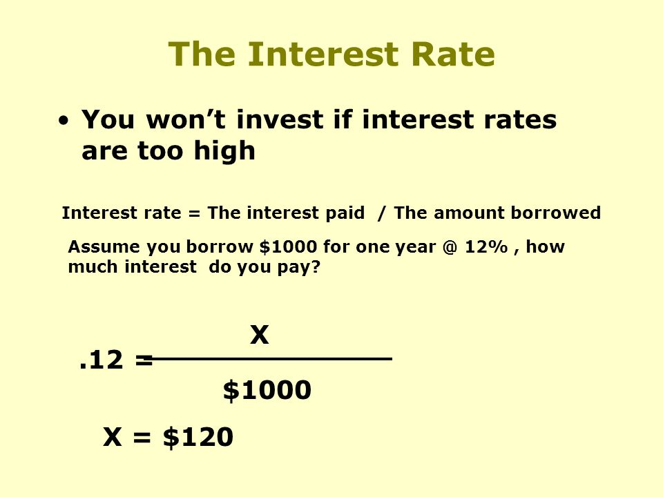 The Interest Rate You wont invest if interest rates are too high Interest rate = The interest paid / The amount borrowed Assume you borrow $1000 for one 12%, how much interest do you pay .12 = X $1000 X = $120
