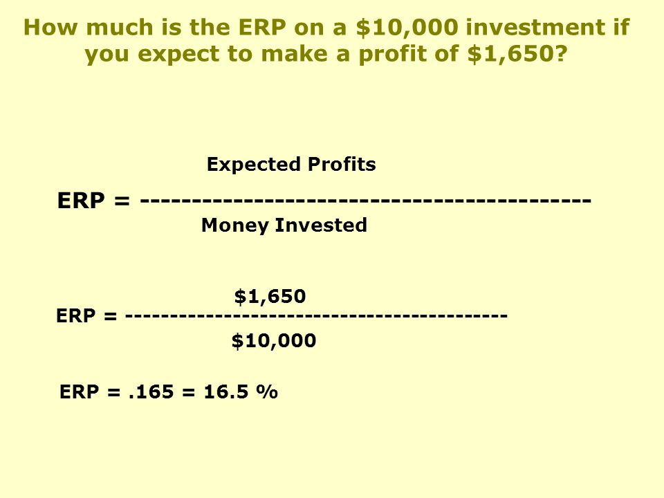 ERP = Expected Profits Money Invested ERP = $1,650 $10,000 ERP =.165 = 16.5 % How much is the ERP on a $10,000 investment if you expect to make a profit of $1,650