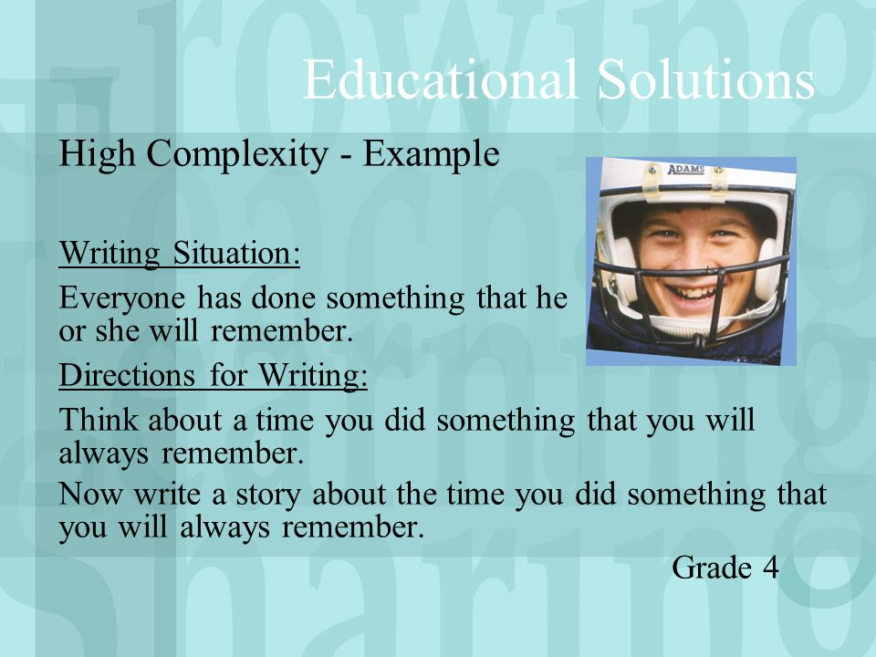 High Complexity - Example Writing Situation: Everyone has done something that he or she will remember.