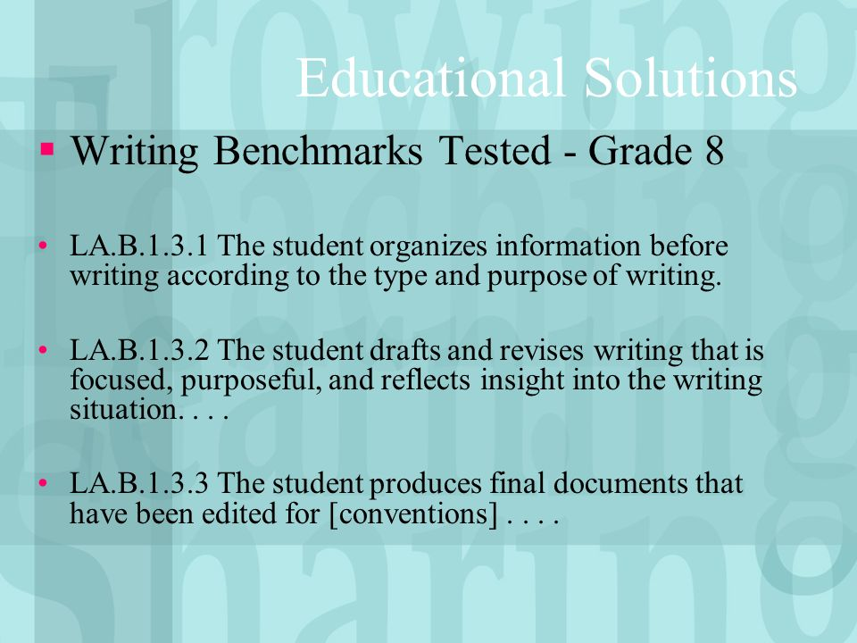 Educational Solutions Writing Benchmarks Tested - Grade 8 LA.B.1.3.1 The student organizes information before writing according to the type and purpose of writing.