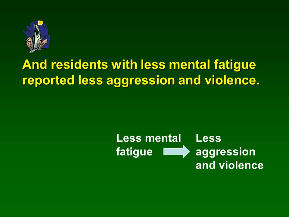And residents with less mental fatigue reported less aggression and violence.
