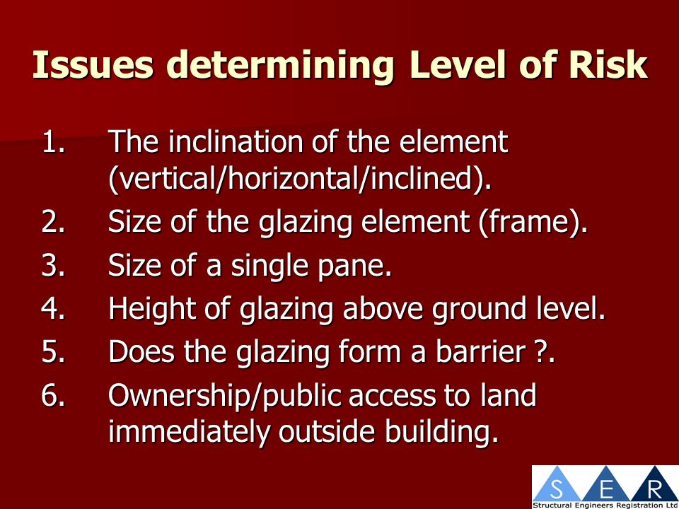 Issues determining Level of Risk 1.The inclination of the element (vertical/horizontal/inclined).