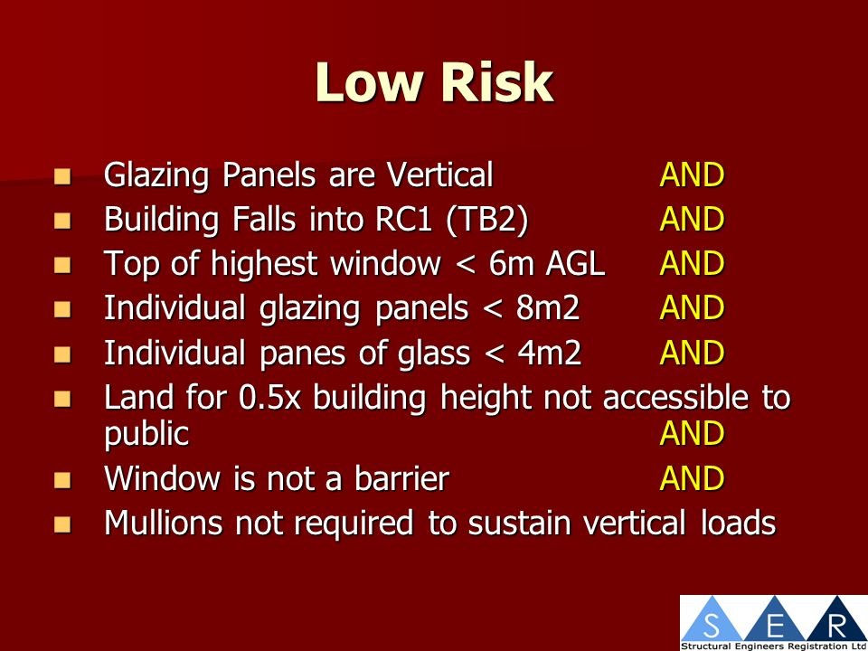 Low Risk Glazing Panels are VerticalAND Glazing Panels are VerticalAND Building Falls into RC1 (TB2)AND Building Falls into RC1 (TB2)AND Top of highest window < 6m AGLAND Top of highest window < 6m AGLAND Individual glazing panels < 8m2AND Individual glazing panels < 8m2AND Individual panes of glass < 4m2AND Individual panes of glass < 4m2AND Land for 0.5x building height not accessible to publicAND Land for 0.5x building height not accessible to publicAND Window is not a barrierAND Window is not a barrierAND Mullions not required to sustain vertical loads Mullions not required to sustain vertical loads