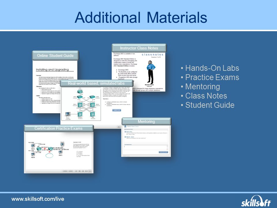 Additional Materials Online Student Guide Instructor Class Notes Real-world based, simulated labs Certification Practice Exams Mentoring Hands-On Labs Practice Exams Mentoring Class Notes Student Guide
