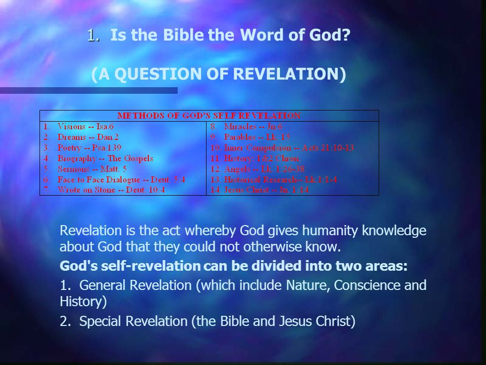 1. 1. Is the Bible the Word of God.