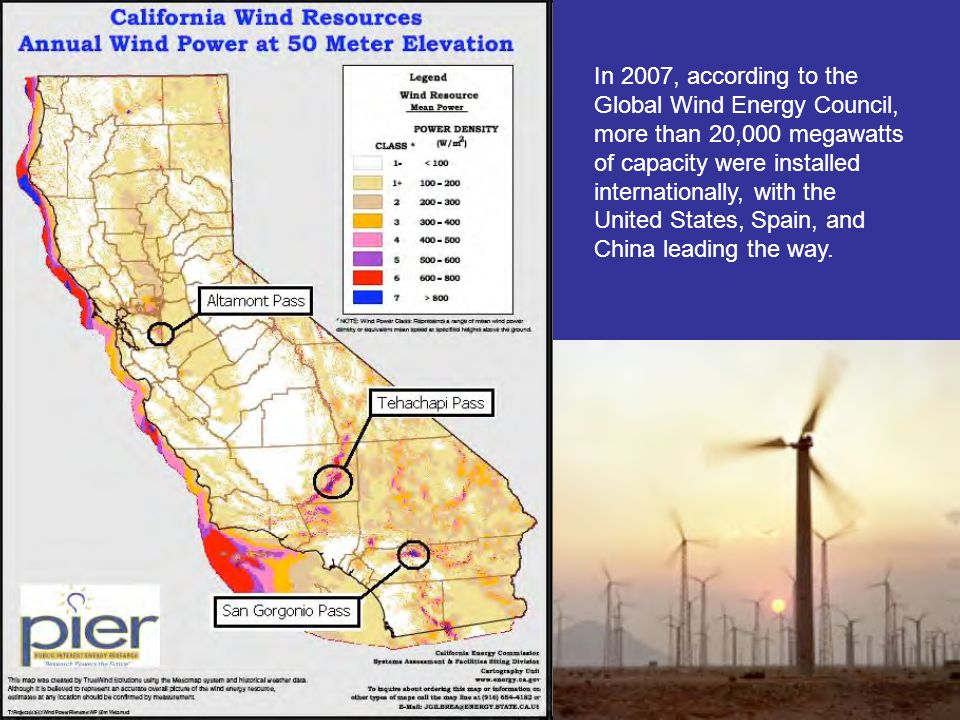 In 2007, according to the Global Wind Energy Council, more than 20,000 megawatts of capacity were installed internationally, with the United States, Spain, and China leading the way.