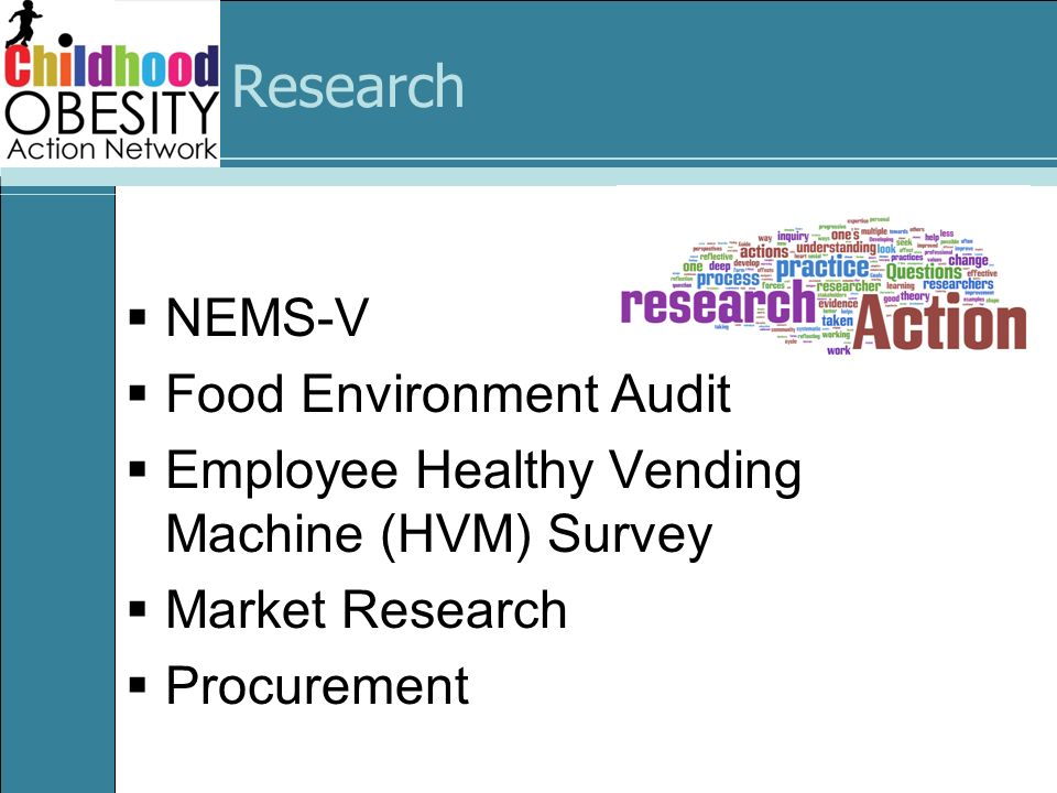 Research NEMS-V Food Environment Audit Employee Healthy Vending Machine (HVM) Survey Market Research Procurement