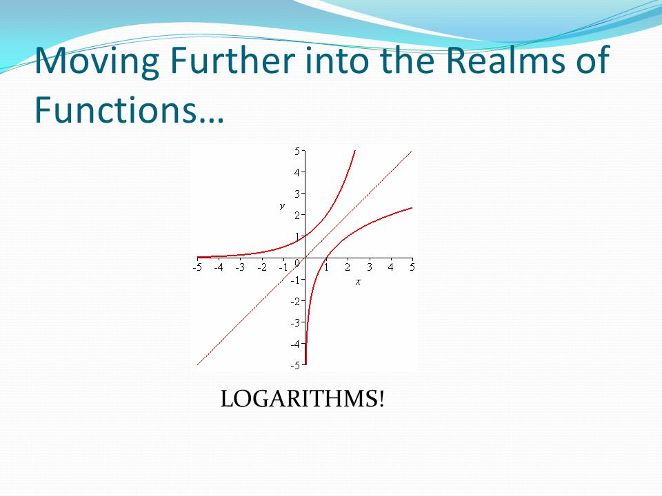Moving Further into the Realms of Functions… LOGARITHMS!