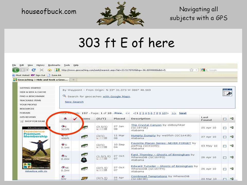 houseofbuck.com Navigating all subjects with a GPS 303 ft E of here