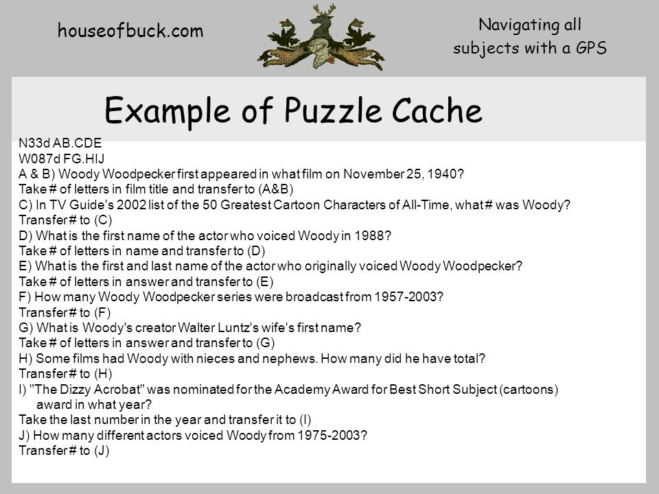 houseofbuck.com Navigating all subjects with a GPS Example of Puzzle Cache N33d AB.CDE W087d FG.HIJ A & B) Woody Woodpecker first appeared in what film on November 25, 1940.