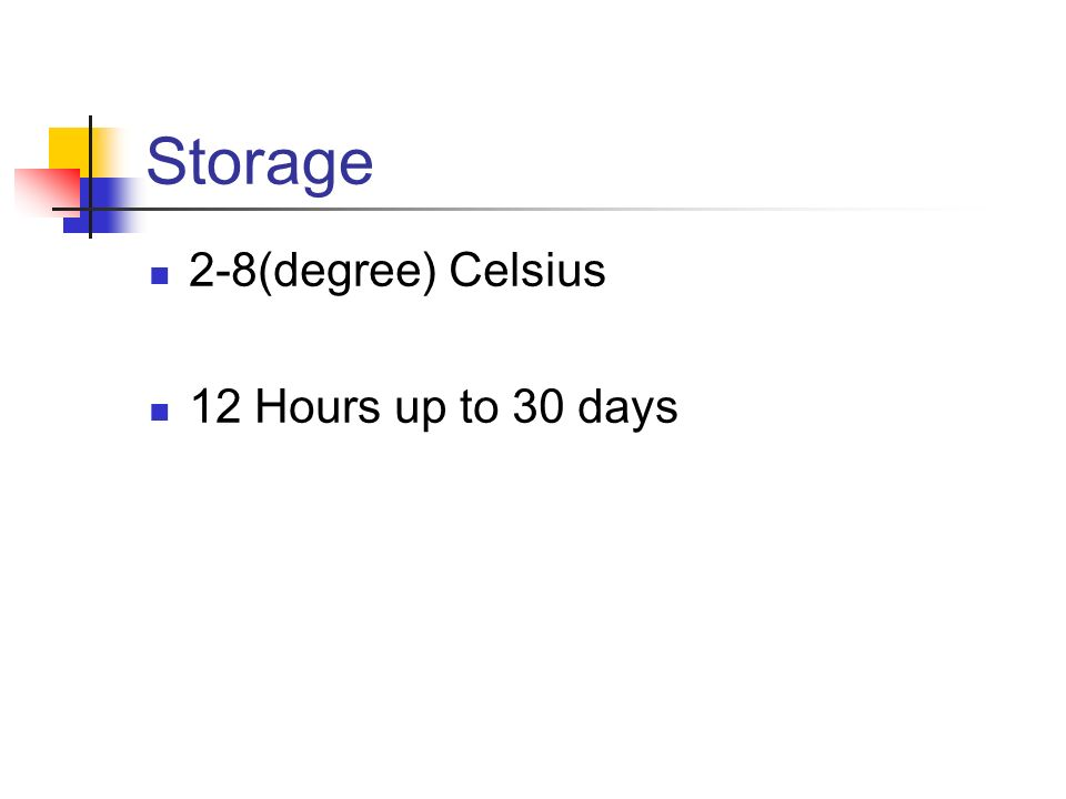 Storage 2-8(degree) Celsius 12 Hours up to 30 days