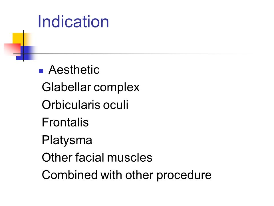 Indication Aesthetic Glabellar complex Orbicularis oculi Frontalis Platysma Other facial muscles Combined with other procedure