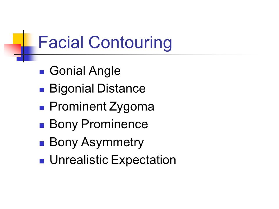 Facial Contouring Gonial Angle Bigonial Distance Prominent Zygoma Bony Prominence Bony Asymmetry Unrealistic Expectation