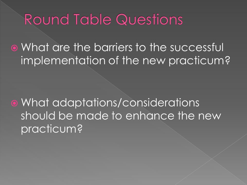 What are the barriers to the successful implementation of the new practicum.