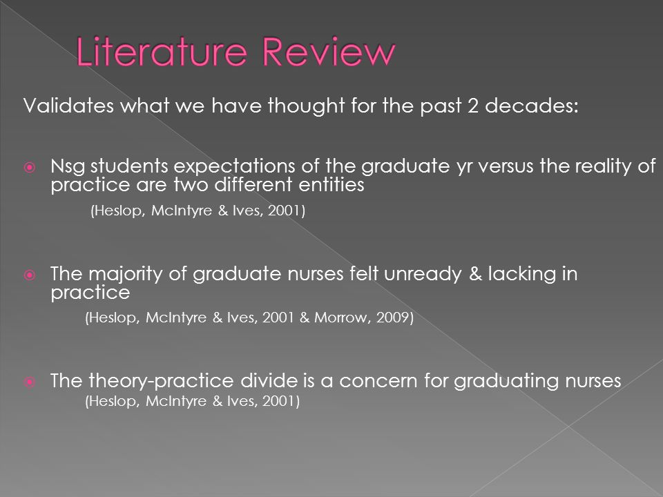 Validates what we have thought for the past 2 decades: Nsg students expectations of the graduate yr versus the reality of practice are two different entities (Heslop, McIntyre & Ives, 2001) The majority of graduate nurses felt unready & lacking in practice (Heslop, McIntyre & Ives, 2001 & Morrow, 2009) The theory-practice divide is a concern for graduating nurses (Heslop, McIntyre & Ives, 2001)