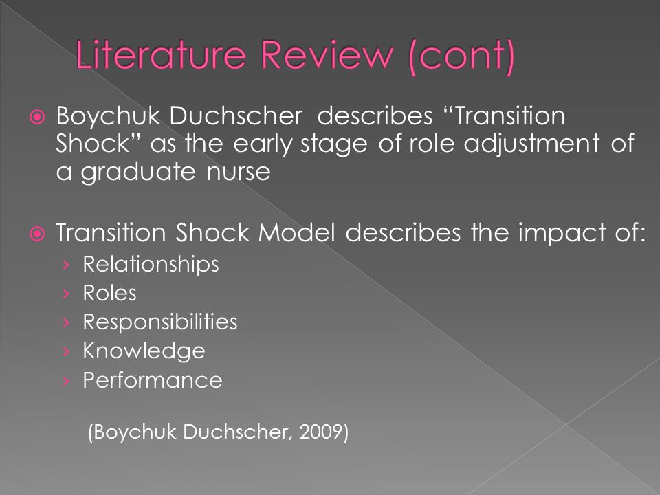 Boychuk Duchscher describes Transition Shock as the early stage of role adjustment of a graduate nurse Transition Shock Model describes the impact of: Relationships Roles Responsibilities Knowledge Performance (Boychuk Duchscher, 2009)