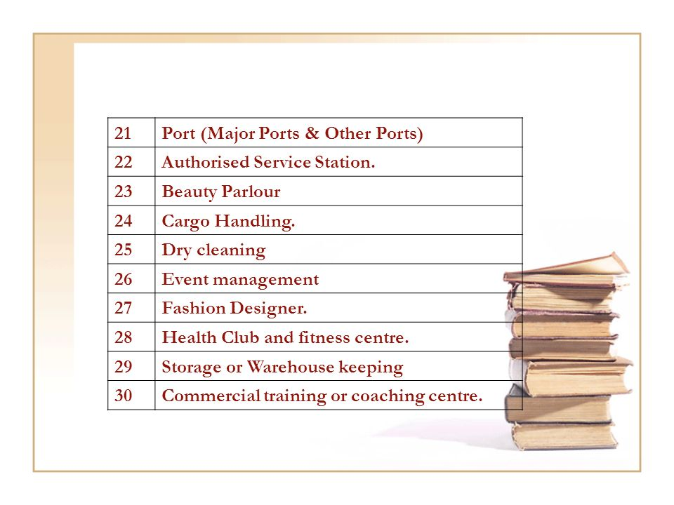 21Port (Major Ports & Other Ports) 22Authorised Service Station.