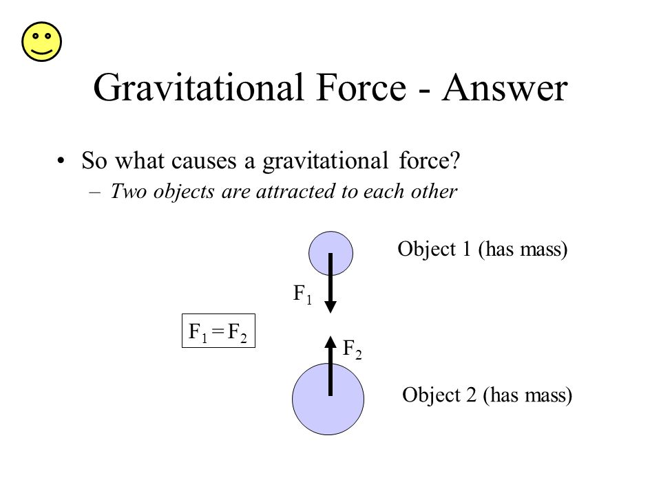 Gravitational Force - Answer So what causes a gravitational force.