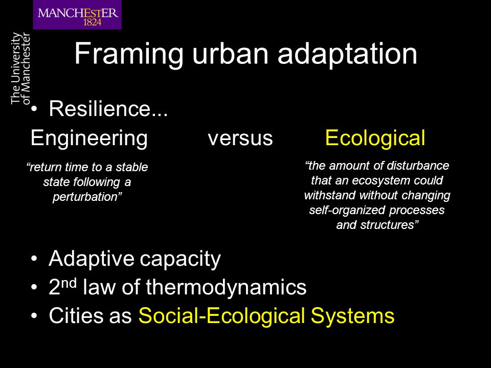 Framing urban adaptation Resilience...