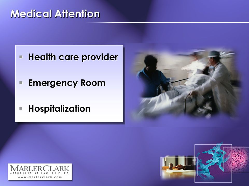 Medical Attention Health care provider Health care provider Emergency Room Emergency Room Hospitalization Hospitalization