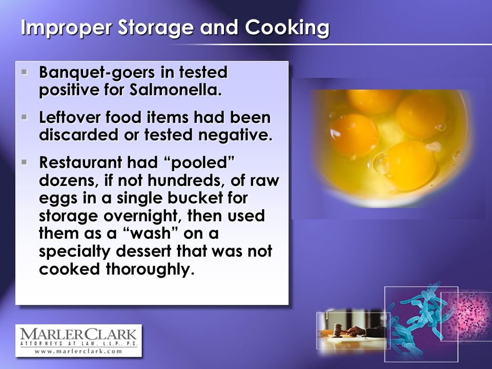 Improper Storage and Cooking Banquet-goers in tested positive for Salmonella.