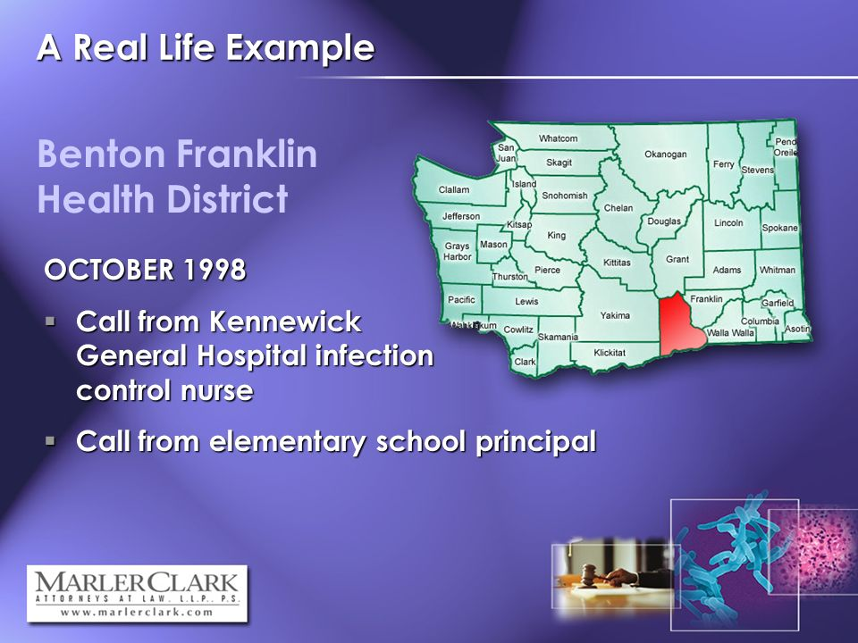 A Real Life Example Benton Franklin Health District OCTOBER 1998 Call from Kennewick General Hospital infection control nurse Call from Kennewick General Hospital infection control nurse Call from elementary school principal Call from elementary school principal