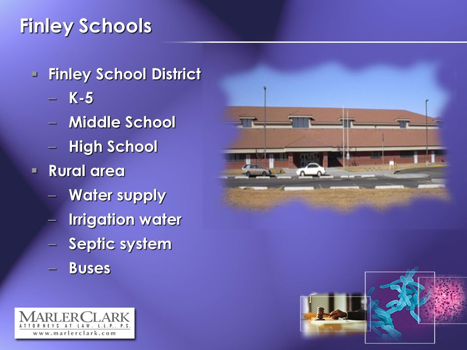 Finley Schools Finley School District Finley School District – K-5 – Middle School – High School Rural area Rural area – Water supply – Irrigation water – Septic system – Buses
