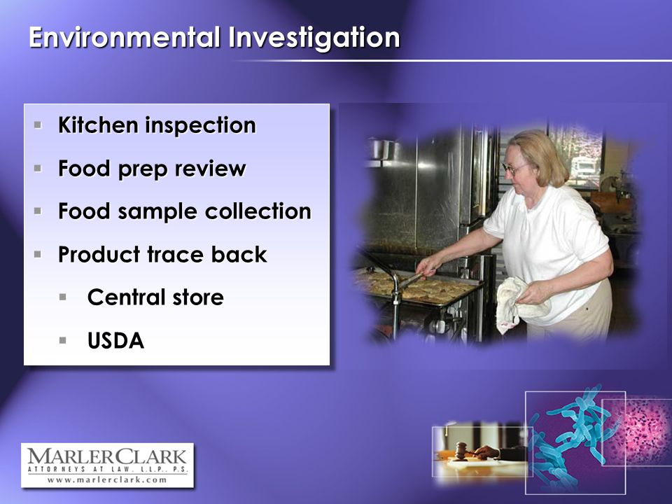 Kitchen inspection Kitchen inspection Food prep review Food prep review Food sample collection Food sample collection Product trace back Product trace back Central store Central store USDA USDA