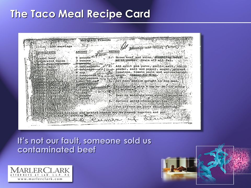 The Taco Meal Recipe Card Its not our fault, someone sold us contaminated beef