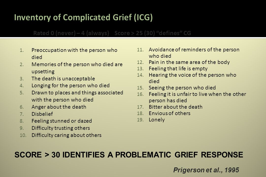1. Preoccupation with the person who died 2. Memories of the person who died are upsetting 3.