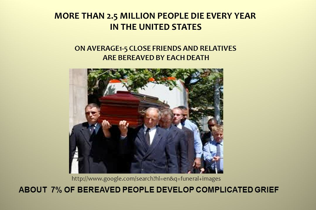 hl=en&q=funeral+images MORE THAN 2.5 MILLION PEOPLE DIE EVERY YEAR IN THE UNITED STATES ON AVERAGE1-5 CLOSE FRIENDS AND RELATIVES ARE BEREAVED BY EACH DEATH ABOUT 7% OF BEREAVED PEOPLE DEVELOP COMPLICATED GRIEF