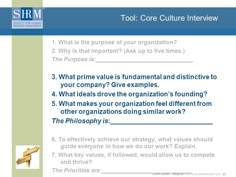 ©2008 Sheila L. Margolis   25 Tool: Core Culture Interview 1.