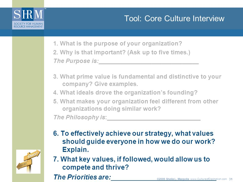 ©2008 Sheila L. Margolis   31 Tool: Core Culture Interview 1.