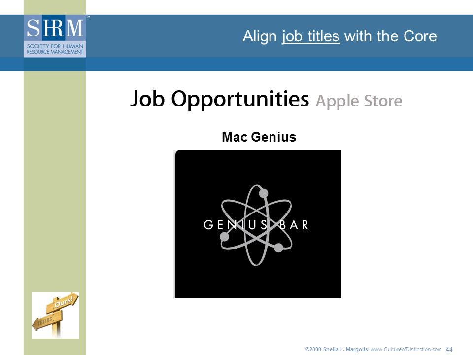 ©2008 Sheila L. Margolis   44 Align job titles with the Core Mac Genius