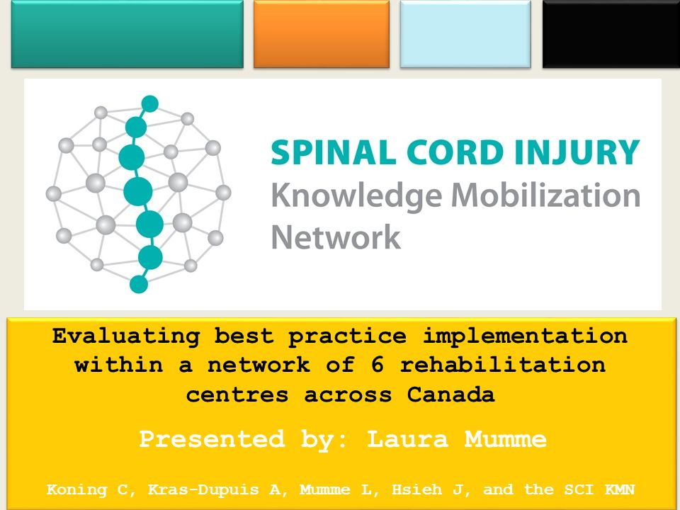 Evaluating best practice implementation within a network of 6 rehabilitation centres across Canada Presented by: Laura Mumme Koning C, Kras-Dupuis A, Mumme L, Hsieh J, and the SCI KMN