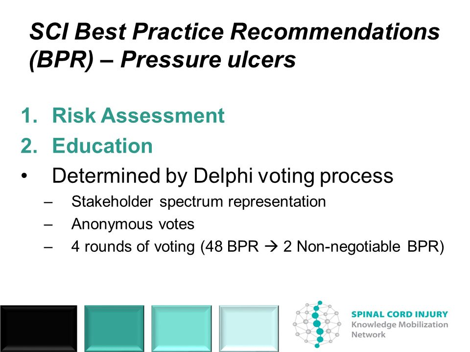 SCI Best Practice Recommendations (BPR) – Pressure ulcers 1.Risk Assessment 2.Education Determined by Delphi voting process –Stakeholder spectrum representation –Anonymous votes –4 rounds of voting (48 BPR 2 Non-negotiable BPR)