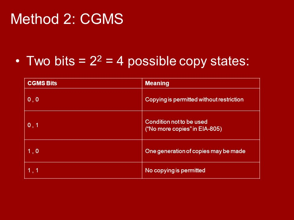 Method 2: CGMS Two bits = 2 2 = 4 possible copy states: CGMS BitsMeaning 0, 0Copying is permitted without restriction 0, 1 Condition not to be used (No more copies in EIA-805) 1, 0One generation of copies may be made 1, 1No copying is permitted