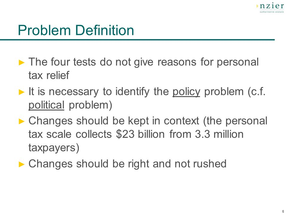 5 Problem Definition The four tests do not give reasons for personal tax relief It is necessary to identify the policy problem (c.f.