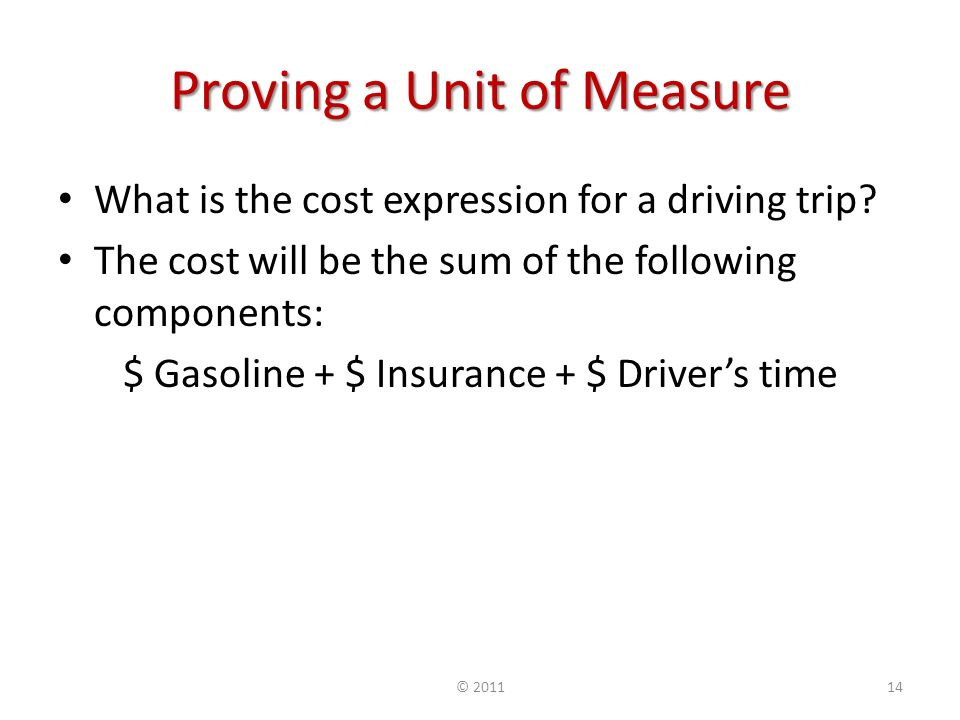 Proving a Unit of Measure What is the cost expression for a driving trip.